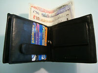 Soft Leather Gents Wallet Large Size BLACK 15 Credit Slots and Coin Pocket  RFID