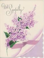 VINTAGE PURPLE LILAC FLOWER BOTANICAL VINTAGE SYMPATHY LITHOGRAPH CARD PRINT