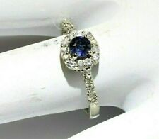 Blue Sapphire Ring surrounded by Diamonds size 6.5