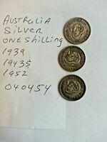 Australia  Silver coins 1 shilling 1939 1943s 1952 040454