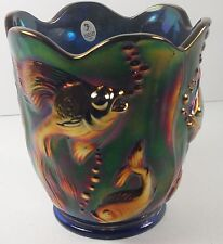 Fenton Carnival Glass Vase in Beautiful Deep Cobalt Blue W/ Embossed Angel Fish