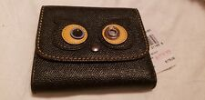 Authentic Black Bear Coach Tri fold Small Leather Wallet zip coin case