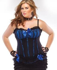 New Coquette 328X Plus Size Black And Blue Fully Boned Corset