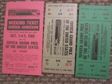 New listing 1980 Watkins Glen lot of 3 tickets United States Grand Prix Formula 1 F1