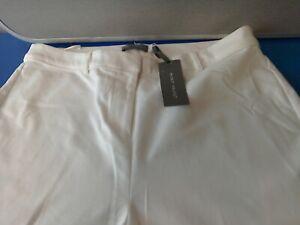 WG713 Mint Velvet Ivory Button Hem Capri Trousers Size 16R