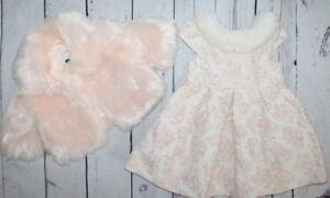 JANIE & JACK🌷Blush Castle Gold Dress /Faux Fur Coat Set🌷Girl Sz 12-18 M  $189