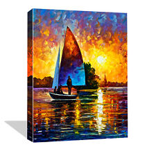 Modern Canvas Wall Art Print Abstract Sailboat Painting Decor Picture Unframed