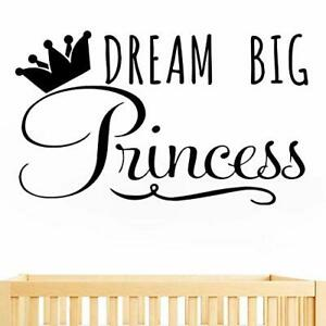 JUEKUI Dream Big Princess with Crown Wall Decal Removable Vinyl Sticker (Black)