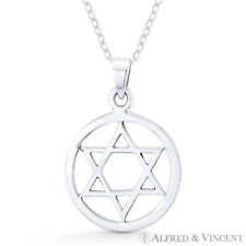 """Star of David / Jewish Magen 0.7"""" Charm in .925 Sterling Silver Necklace Pendant"""