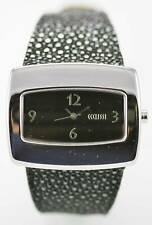 Ecclissi Womens Watch Sterling Silver Black Leather Water Resistant Quartz