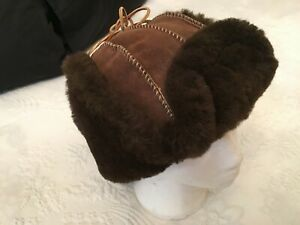 100% Suede Leather & Faux Fur Lined  Trapper Style Hat Size M 57 CM