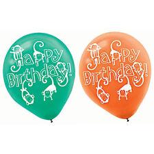 JUNGLE ANIMALS LATEX BALLOONS (6) ~ Birthday Party Supplies Helium Decorations