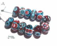 SANTA FE Handmade Lampwork Beads - Red Turquoise Blue White Black - 12 beads
