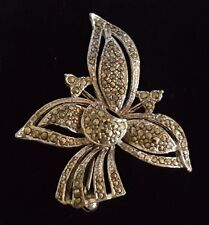 Deco antique floral brooch K Silver plate & marcasite vintage Art