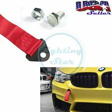 Front Rear Bumper Hook Sport High Strength Racing Tow Strap Set -Red