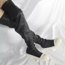 Knee High Sneakers Round Toe Slip-On Kpop Rick Casual Over-the-Knee Long Boots