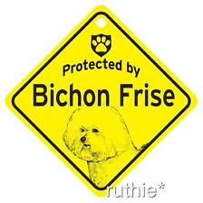 Protected by Bichon Frise Dog Window Sign Made in USA