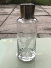 Beautiful Penhaligon's Large Glass Etched Bottle With 925 Silver Hallmarked Lid