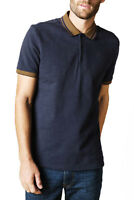 Ben Sherman Mens Birdseye Short Sleeve Slub Pique Polo Shirt Cotton Top Blue