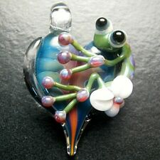 Boomwire Glass Heart Frog pendant necklace lampwork bead handmade jewelry gift