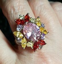 Faceted Cut Pink & White Topaz Morganite Gemstones Silver Ring Sz 10