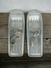 Old Vintage Child's Aluminum Snow Shoes / Foot Skis / Skating with Canvas Straps