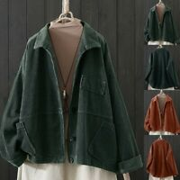 Women Cardigan Corduroy Lapel Pocket Long Sleeve Coat Lady Winter Jacket Outwear