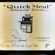 Antique Magic Lantern Glass Slide Advertising Quick Meal Gas Stove