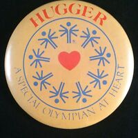 Hugger * A Special Olympian At Heart Button pin Special Olympic Pinback Badge
