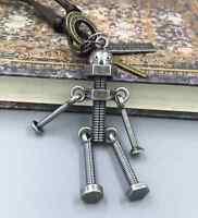 NEW Retro Men Metal Screw robot pendant Genuine Leather Surfer Choker Necklace
