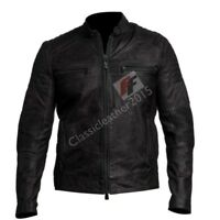Mens Biker Vintage Motorcycle Distressed Black Cafe Racer Leather Jacket