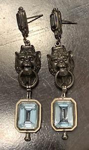 MCL MATTHEW CAMPBELL LAURENZA LION HEAD DOOR KNOCKER TOPAZ Earrings