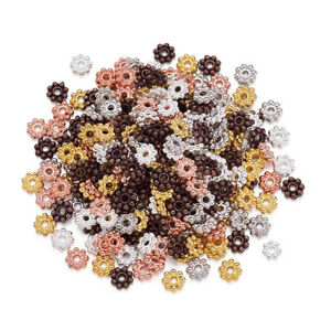 300pcs Colorful Alloy Flower Metal Beads Tiny Loose Spacer Beading Craft 5x1.5mm
