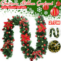 2.7M Christmas Rattan Garland Fireplace Fence Door Outdoor Wreath LED Lights AU