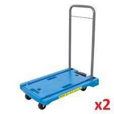 2 x Heavy Duty Polypropylene Platform Hand Truck 100kg Industrial Warehouse
