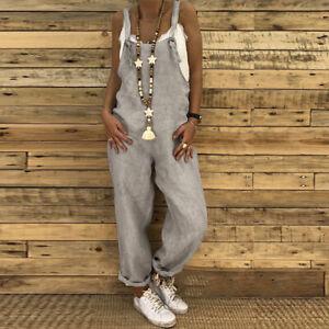 Women Summer Vintage Dungaree Bib Cargo Pants Jumpsuit Romper Playsuit Overalls