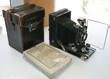 AGFA Isolar 9x12 Tin plate camera Solinear 4.5/13.5 lens-Leather Case-And 6 tins