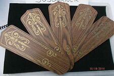 """NEW 5 Pack Replacement Blades Reversible Wood Grain w/Design for 42"""" Ceiling Fan"""