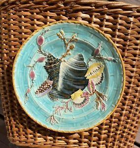 Wedgwood 19th Century Majolica Turquoise Shell Seaweed Plate