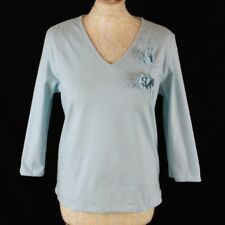 COTTON TRADERS Top Floral Applique 3/4 Sleeve Women UK 12 Blue Casual Autumn