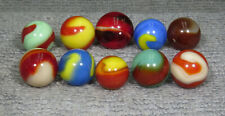 """GROUP OF 10 AKRO AGATE CORKSCREW MARBLES 19/32"""" - 23/32"""" G / NM+  W110"""