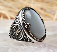 Turkish 925 Sterling Silver special moon stone Mens mans ring ALL SİZE us