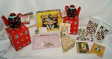 Mary Engelbreit LOT - Tin Teapots Candle Holders Thumbtacks Notepads Books