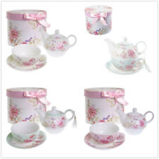 Tea for One Teapot Cup suacer Set Flower Bird Rose Butterfly Porcelain Gift Box
