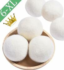 6 Wool Dryer Balls XL Organic New Zealand Wool Natural Laundry Fabric Softener