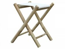 Lyon Stool Bamboo Bambushocker with Fabric Seat Linen