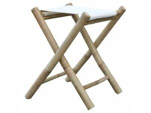 Lyon Stool Bamboo Bambushocker With Fabric Seat Linen