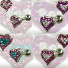 Helix Tragus Ohr Piercing Schmuck Herz mit Kristallen zweifarbig glitzer Stecker