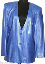 BEGEDOR Vintage Leather Jacket 8 Blue Boyfriend Boxy Blazer Coat Cobalt Purple
