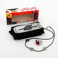 Anime NARUTO Uchiha Itachi Pendant Necklace +Zhu Ring+Headband 3Pcs Cosplay Gift